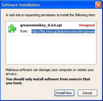 [screenshot of Software Installation dialog]